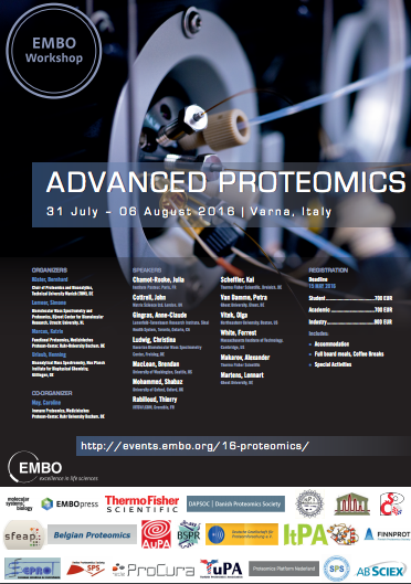 EMBO Workshop - Advanced proteomics, 2016, July 31- August 6th, Italy, Varna